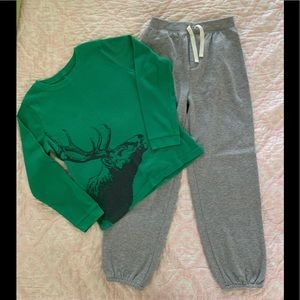 🎉HP🎉Carter's Boy Green Elk & Gray Pajamas Set 12